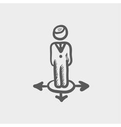 Man in three ways sketch icon vector image