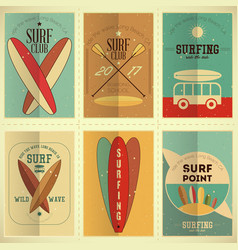 surfing posters set vector image