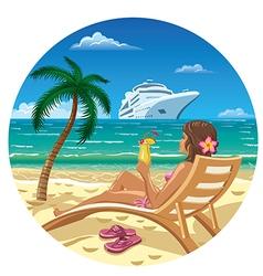 woman on a beach vector image vector image