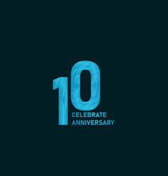10 year anniversary aqua color template design vector