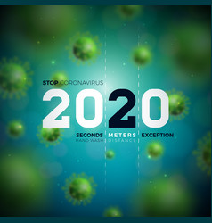 2020 stop coronavirus design with falling covid-19 vector image
