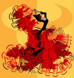 Abstract yellow image of flamenco vector