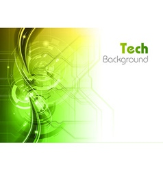 background line wave light tech green vector image