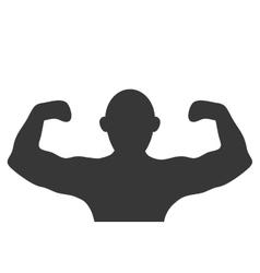 Bald person flexing arms vector