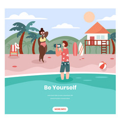 Be yourself web banner design template vector
