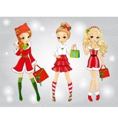 Beautiful Girls With Christmas Bags vector
