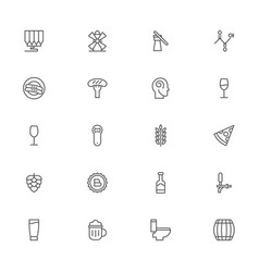 Beer pixel perfect outline icons modern style for vector