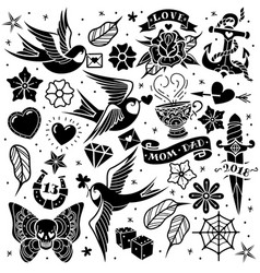 Black and white tattoo set vector