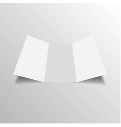 Blank three folded fold paper leaflet vector