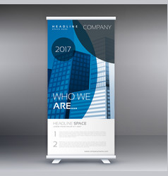 Blue circle style roll up standee banner design vector