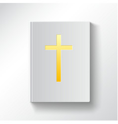 Book with a gold cross Top view vector image