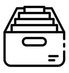 Box with personal files icon outline style vector