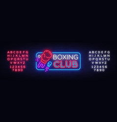 Boxing club neon sign boxing night design vector