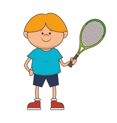 Boy kid tennis player sport vector