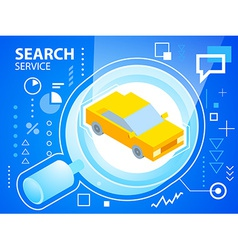 Bright glass search and car on blue backgrou vector