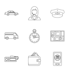 Call taxi icons set outline style vector image