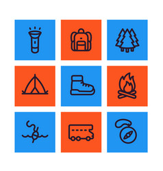 camping line icons set backpack hike tent vector image