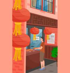 chinatown with red chinese lanterns close-up vector image