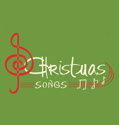 Christmas songs text on green background greeting vector