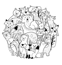circle shape coloring page with funny forest vector image