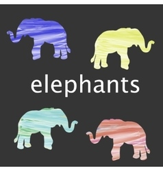 Colored elephant silhouette vector