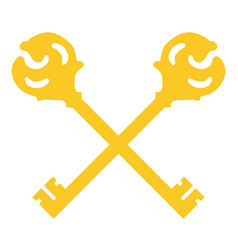 crossed golden keys vector image