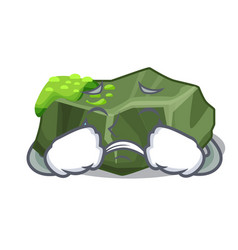 Crying cartoon large stone covered with green moss vector