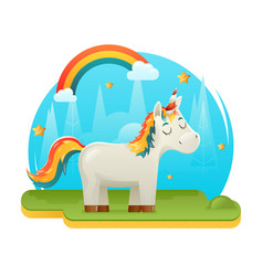 Cute cartoon unicorn fantasy animal sweet dream vector
