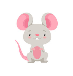 Cute mouse funny animal cartoon character vector