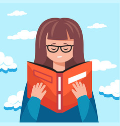 cute woman reading a book educational concept vector image
