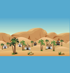 desert landscape background with nomad camp scene vector image