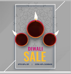 Diwali sale poster with festival diya lamps vector