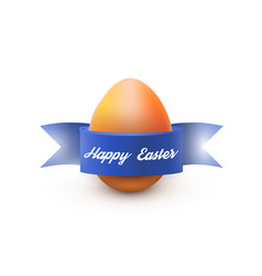 Easter egg with blue ribbon isolated on white vector
