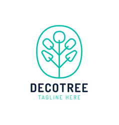 eco symbol palm in a tree shape bio logo vector image