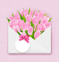 envelope with tulips vector image
