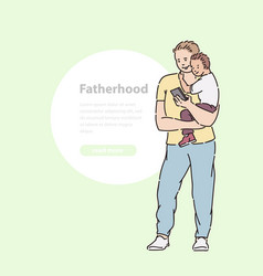 Father holds son his arms and looks into phone vector