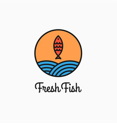 fish round logo linear circle with fish and waves vector image