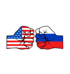 Fists american and russian usa vs russia vector