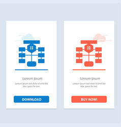 Flowchart flow chart data database blue and red vector