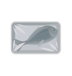 fresh fish packaging food plastic tray container vector image