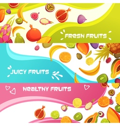 Fresh Fruits Horizontal Banners Set vector
