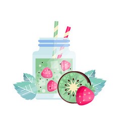 Fruit cocktail with kiwi and strawberry glass jar vector