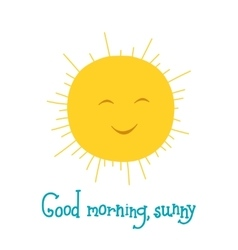 Funny sun smiling in the sky Good morning theme vector