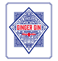 Ginger gin vintage label packing design with vector