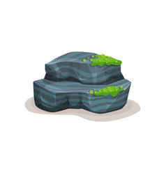 Gray rock stone boulder with moss design element vector