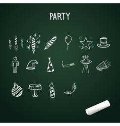 Group of hand-drawn party icons doodle vector