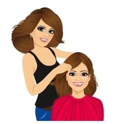 Hairdresser working cutting long hair vector