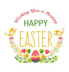 happy easter isolated icon religious holiday egg vector image
