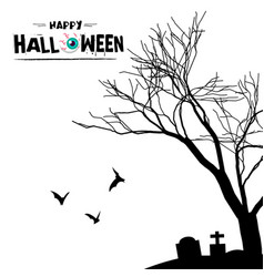 happy halloween grave tree branch background vector image