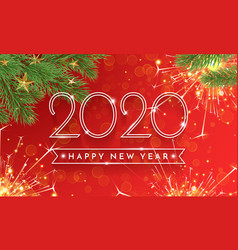 happy new year 2020 glitter gold greeting card vector image